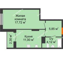 1 комнатная квартира 40,99 м² в ЖК Рассвет, дом № 9 - планировка