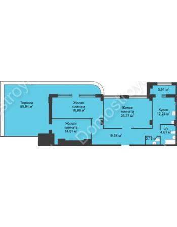 3 комнатная квартира 115,48 м² в ЖК Караваиха, дом № 5