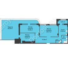 3 комнатная квартира 115,48 м² в ЖК Караваиха, дом № 5 - планировка