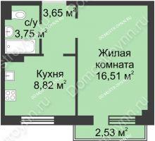 1 комнатная квартира 33,49 м² в ЖК Тридесятое, дом № 23 - планировка