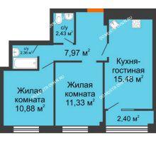 3 комнатная квартира 51,65 м², ЖК Каскад на Менделеева - планировка