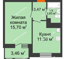 1 комнатная квартира 37,62 м² в ЖК Книги, дом № 1 - планировка