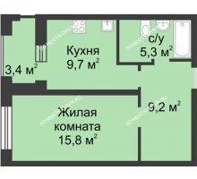 1 комнатная квартира 41,7 м² в ЖК Аквамарин, дом № 6 - планировка