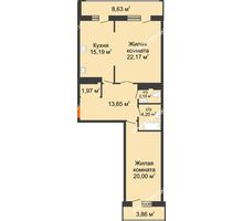 2 комнатная квартира 91,86 м² в ЖК Покровский, дом № 1