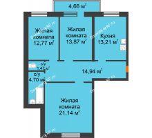 3 комнатная квартира 86,76 м², ЖК Дом на Троицкой - планировка