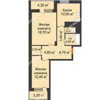 2 комнатная квартира 66,35 м² в ЖК Корица, дом № 1 - планировка