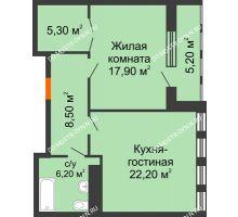 1 комнатная квартира 63,32 м² в ЖК Георгиевский, дом 2а - планировка