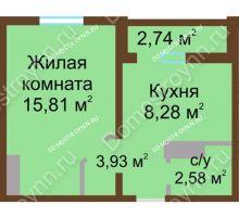 1 комнатная квартира 31,97 м² в ЖК Бурнаковский, дом № 24