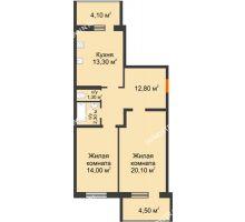 2 комнатная квартира 68,1 м² в ЖК Удачный 2, дом № 1 - планировка