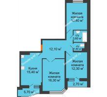 3 комнатная квартира 78,2 м² в ЖК Перспектива, дом Литер 3.5 - планировка