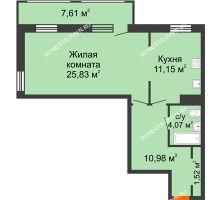 1 комнатная квартира 61,16 м² в ЖК Покровский, дом № 1 - планировка