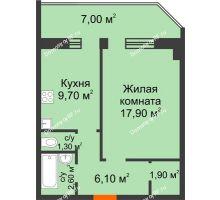 1 комнатная квартира 43,35 м², ЖК Сэлфорт - планировка