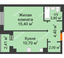 1 комнатная квартира 37 м² в Микрорайон Прибрежный, дом № 8 - планировка