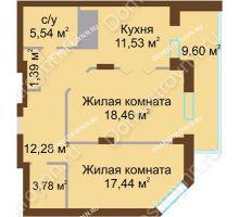 2 комнатная квартира 80,02 м² - ЖК Олимп