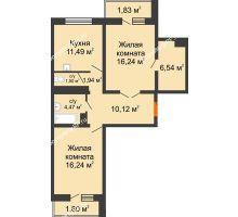 2 комнатная квартира 72,17 м² в ЖК Мой город, дом Литер 3 - планировка