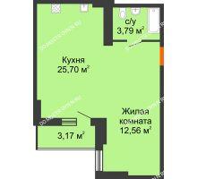 Студия 43,64 м², ЖК Орбита - планировка