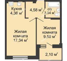 2 комнатная квартира 39,87 м² в ЖК Соловьиная роща, дом № 3 - планировка
