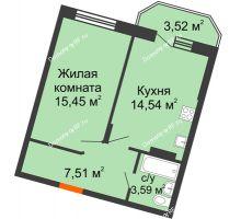 1 комнатная квартира 42,85 м² в ЖК Мандарин, дом 1 позиция 1,2 секция - планировка
