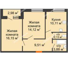 2 комнатная квартира 58,88 м² - ЖК Олимпийский
