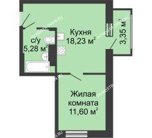 1 комнатная квартира 38,46 м² в ЖК Красная поляна, дом № 6