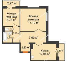 2 комнатная квартира 56,27 м² в ЖК Иннoкeнтьeвcкий, дом № 6