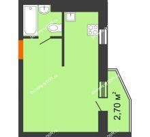 Студия 27,1 м² в ЖК 5 Элемент - Монолит (Пятый Элемент), дом Корпус 5-7 - планировка