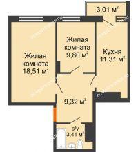 2 комнатная квартира 53,8 м², Жилой дом Звездный - планировка