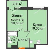 1 комнатная квартира 38,38 м² в ЖК Город времени, дом № 18