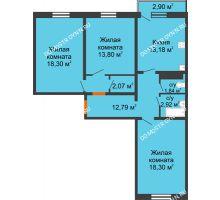 3 комнатная квартира 84,07 м² в ЖК Бурнаковский, дом № 47 - планировка