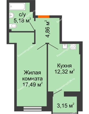 1 комнатная квартира 41,43 м² в ЖК Аврора, дом № 3