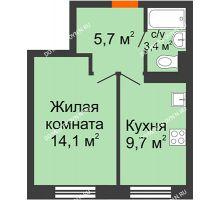 1 комнатная квартира 32,9 м² в ЖК Жюль Верн, дом № 1 корпус 2