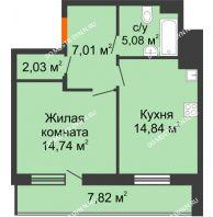 1 комнатная квартира 47,61 м² в ЖК Циолковский, дом № 6 - планировка