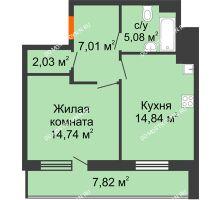 1 комнатная квартира 47,61 м² в ЖК Циолковский, дом № 3 - планировка