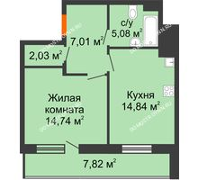 1 комнатная квартира 47,61 м² в ЖК Циолковский, дом № 5 - планировка