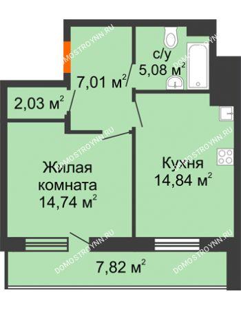 1 комнатная квартира 47,61 м² в ЖК Циолковский, дом № 6