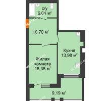 1 комнатная квартира 51,66 м² в ЖК Свобода, дом 2 очередь