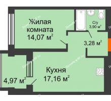 1 комнатная квартира 43,3 м² в ЖК Речной порт, дом № 6 - планировка