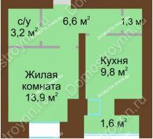 1 комнатная квартира 38 м² в ЖК Рубин, дом № 67