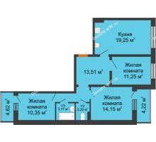 3 комнатная квартира 77,8 м², ЖК Инстеп.Победа - планировка
