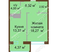 1 комнатная квартира 46,3 м² в ЖК Дворянский, дом № 1 - планировка