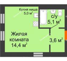 Студия 28,1 м² в Микрорайон Республика, дом ГП-3 - планировка