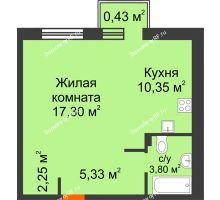 Студия 39,88 м² в ЖК Португалия, дом № 22 - планировка
