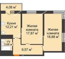2 комнатная квартира 66 м², ЖК Время - планировка